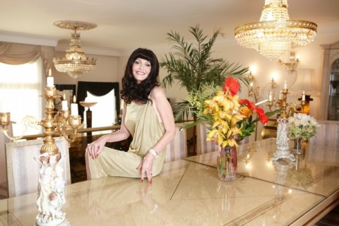 Hilary Devey with Flowers